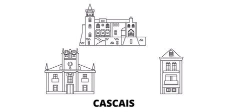 Portugal, Cascais line travel skyline set. Portugal, Cascais outline city vector panorama, illustration, travel sights, landmarks, streets. Stock Illustratie