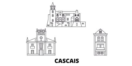 Portugal, Cascais line travel skyline set. Portugal, Cascais outline city vector panorama, illustration, travel sights, landmarks, streets. 일러스트