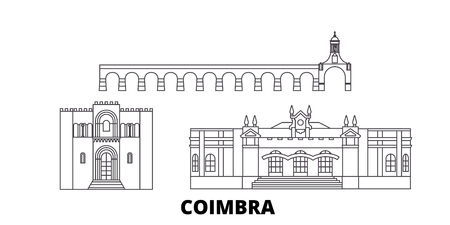Portugal, Coimbra line travel skyline set. Portugal, Coimbra outline city vector panorama, illustration, travel sights, landmarks, streets. Illustration