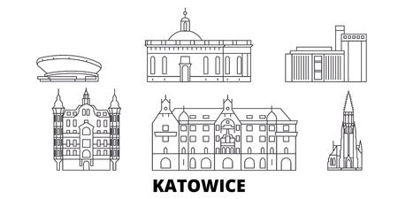 Polska, Katowice linia panoramę podróży zestaw. Polska, Katowice zarys panorama miasta wektor, ilustracja, zabytki podróży, zabytki, ulice. Ilustracje wektorowe