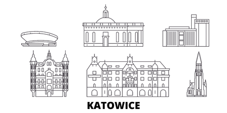 Poland, Katowice line travel skyline set. Poland, Katowice outline city vector panorama, illustration, travel sights, landmarks, streets.