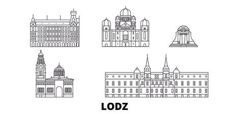 Poland, Lodz line travel skyline set. Poland, Lodz outline city vector panorama, illustration, travel sights, landmarks, streets.