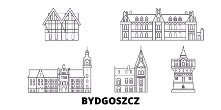 Poland, Bydgoszcz line travel skyline set. Poland, Bydgoszcz outline city vector panorama, illustration, travel sights, landmarks, streets. Stock Vector - 120651617