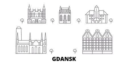 Poland, Gdansk line travel skyline set. Poland, Gdansk outline city vector panorama, illustration, travel sights, landmarks, streets.  イラスト・ベクター素材