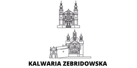 Poland, Kalwaria Zebrzydowska line travel skyline set. Poland, Kalwaria Zebrzydowska outline city vector panorama, illustration, travel sights, landmarks, streets.