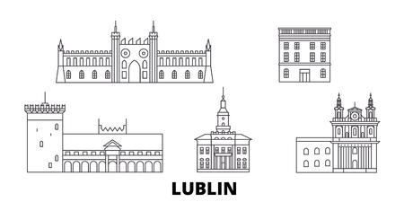 Poland, Lublin line travel skyline set. Poland, Lublin outline city vector panorama, illustration, travel sights, landmarks, streets.