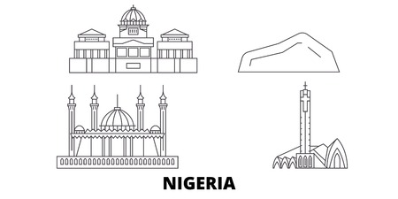Nigeria line travel skyline set. Nigeria outline city vector panorama, illustration, travel sights, landmarks, streets.