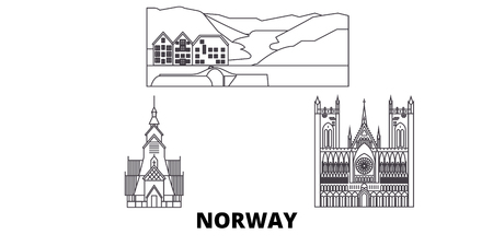 Norway line travel skyline set. Norway outline city vector panorama, illustration, travel sights, landmarks, streets.