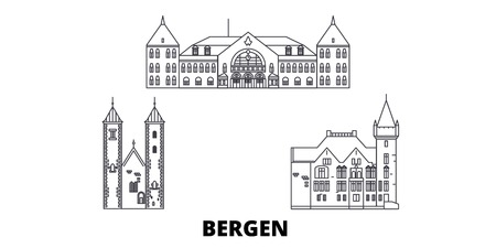 Norway, Bergen line travel skyline set. Norway, Bergen outline city vector panorama, illustration, travel sights, landmarks, streets. Фото со стока - 120651625