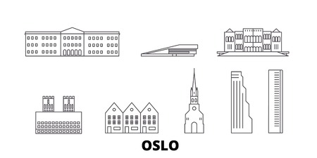 Norway, Oslo line travel skyline set. Norway, Oslo outline city vector panorama, illustration, travel sights, landmarks, streets.