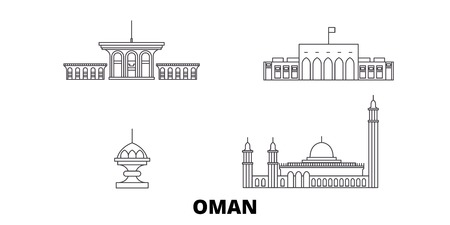 Oman, Muscat line travel skyline set. Oman, Muscat outline city vector panorama, illustration, travel sights, landmarks, streets.