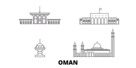 Oman, Muscat linia panoramę podróży zestaw. Oman, Maskat zarys panorama miasta wektor, ilustracja, zabytki podróży, zabytki, ulice.