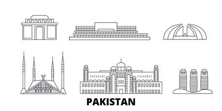 Pakistan, Islamabad linea skyline di viaggio impostato. Pakistan, Islamabad outline vettore città panorama, illustrazione, siti di viaggi, punti di riferimento, strade.