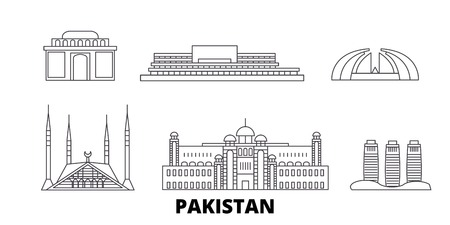 Pakistan, Islamabad Linie Reise Skyline Set. Pakistan, Islamabad skizzieren Stadtvektorpanorama, Illustration, Reiseanblicke, Sehenswürdigkeiten, Straßen.