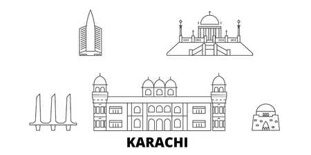 Pakistan, Karachi line travel skyline set. Pakistan, Karachi outline city vector panorama, illustration, travel sights, landmarks, streets.