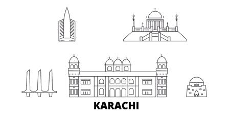 Pakistan, Karachi line travel skyline set. Pakistan, Karachi outline city vector panorama, illustration, travel sights, landmarks, streets.