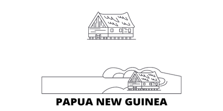 Papua New Guinea line travel skyline set. Papua New Guinea outline city vector panorama, illustration, travel sights, landmarks, streets. Ilustrace