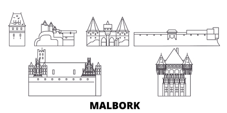 Poland, Malbork line travel skyline set. Poland, Malbork outline city vector panorama, illustration, travel sights, landmarks, streets.  イラスト・ベクター素材