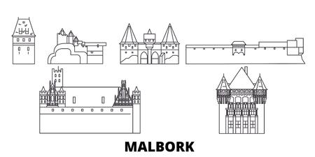 Poland, Malbork line travel skyline set. Poland, Malbork outline city vector panorama, illustration, travel sights, landmarks, streets. Illustration
