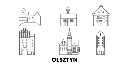 Poland, Olsztyn line travel skyline set. Poland, Olsztyn outline city vector panorama, illustration, travel sights, landmarks, streets. Çizim