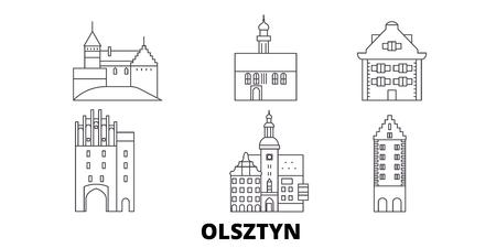 Polonia, Olsztyn, la línea del horizonte de viaje. Polonia, Olsztyn esquema panorama vectorial de la ciudad, ilustración, lugares turísticos, monumentos, calles.