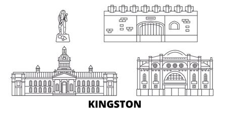 Jamaica, Kingston line travel skyline set. Jamaica, Kingston outline city vector panorama, illustration, travel sights, landmarks, streets.