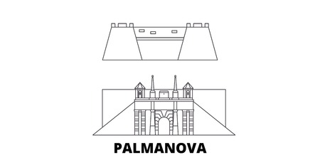 Italy, Palmanova line travel skyline set. Italy, Palmanova outline city vector panorama, illustration, travel sights, landmarks, streets. Imagens - 123963238
