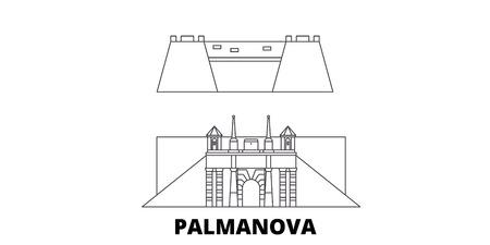 Italy, Palmanova line travel skyline set. Italy, Palmanova outline city vector panorama, illustration, travel sights, landmarks, streets.