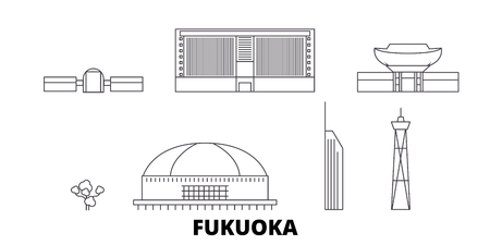 Japan, Fukuoka line travel skyline set. Japan, Fukuoka outline city vector panorama, illustration, travel sights, landmarks, streets. Imagens - 123963239