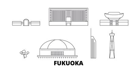 Japan, Fukuoka line travel skyline set. Japan, Fukuoka outline city vector panorama, illustration, travel sights, landmarks, streets.