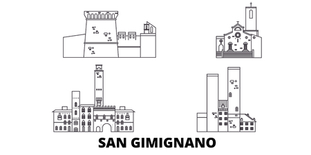 Italy, San Gimignano line travel skyline set. Italy, San Gimignano outline city vector panorama, illustration, travel sights, landmarks, streets. Çizim