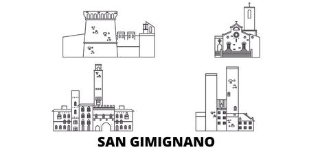 L'Italia, San Gimignano linea skyline di viaggio impostato. L'Italia, San Gimignano outline vettore città panorama, illustrazione, siti di viaggi, punti di riferimento, strade.