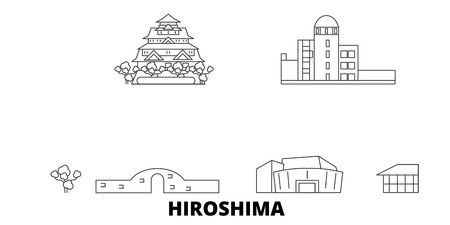 Japan, Hiroshima line travel skyline set. Japan, Hiroshima outline city vector panorama, illustration, travel sights, landmarks, streets.  イラスト・ベクター素材