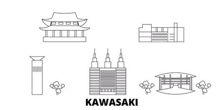 Japan, Kawasaki line travel skyline set. Japan, Kawasaki outline city vector panorama, illustration, travel sights, landmarks, streets.
