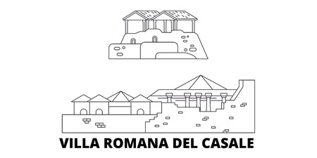 Italy, Villa Romana Del Casale  line travel skyline set. Italy, Villa Romana Del Casale  outline city vector panorama, illustration, travel sights, landmarks, streets. Illustration