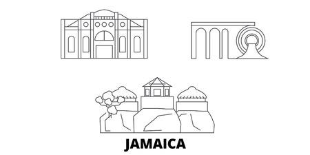 Jamaica line travel skyline set. Jamaica outline city vector panorama, illustration, travel sights, landmarks, streets. Illustration