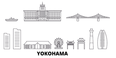 Japan, Yokohama line travel skyline set. Japan, Yokohama outline city vector panorama, illustration, travel sights, landmarks, streets.