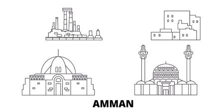Giordania, set di skyline di viaggio in linea di Amman. Giordania, Amman outline città panorama vettoriale, illustrazione, siti di viaggi, punti di riferimento, strade.
