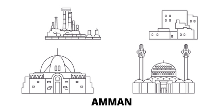 Jordan, Amman line travel skyline set. Jordan, Amman outline city vector panorama, illustration, travel sights, landmarks, streets.