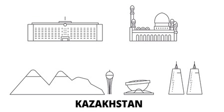 Kazakhstan line travel skyline set. Kazakhstan outline city vector panorama, illustration, travel sights, landmarks, streets. Ilustração