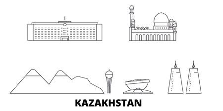Kazakhstan line travel skyline set. Kazakhstan outline city vector panorama, illustration, travel sights, landmarks, streets. Illustration