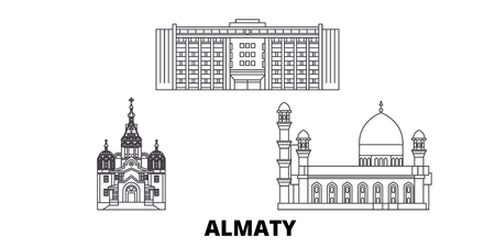 Kazakhstan, Almaty line travel skyline set. Kazakhstan, Almaty outline city vector panorama, illustration, travel sights, landmarks, streets.