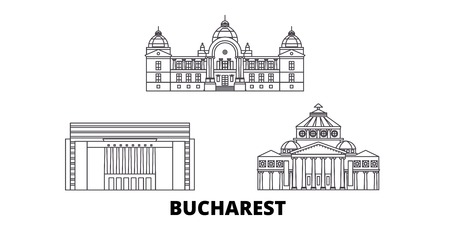 Romania, Bucharest line travel skyline set. Romania, Bucharest outline city vector panorama, illustration, travel sights, landmarks, streets.