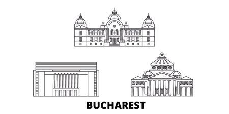 Rumänien, Bukarest Line Travel Skyline Set. Rumänien, Bukarest skizzieren Stadtvektorpanorama, Illustration, Reiseanblicke, Sehenswürdigkeiten, Straßen.
