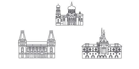 Russia, Barnaul line travel skyline set. Russia, Barnaul outline city vector panorama, illustration, travel sights, landmarks, streets.  イラスト・ベクター素材