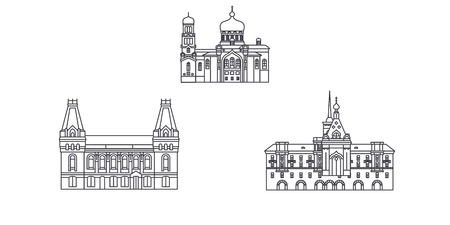 Russia, Barnaul line travel skyline set. Russia, Barnaul outline city vector panorama, illustration, travel sights, landmarks, streets. Illustration