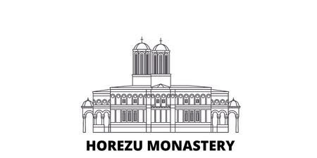 Romania, Horezu Monastery line travel skyline set. Romania, Horezu Monastery outline city vector panorama, illustration, travel sights, landmarks, streets. Banque d'images - 120653356