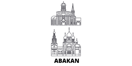 Russia, Abakan line travel skyline set. Russia, Abakan outline city vector panorama, illustration, travel sights, landmarks, streets.