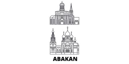 Russia, Abakan line travel skyline set. Russia, Abakan outline city vector panorama, illustration, travel sights, landmarks, streets.