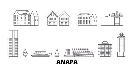 Russia, Anapa line travel skyline set. Russia, Anapa outline city vector panorama, illustration, travel sights, landmarks, streets.